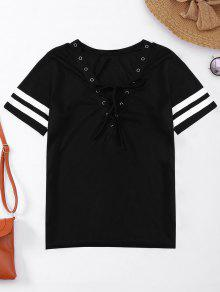 Lace Up T-Shirt With Stripe - Black L