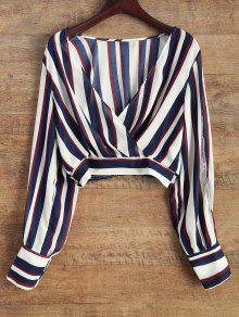 Striped Slit Sleeve Cropped Surplice Blouse - Stripe M