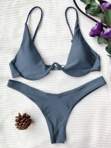 bbe75297ee5c9 32% OFF   HOT  2019 Push Up Plunge Bathing Suit In BLUE