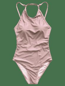 5c9670288d628 9% OFF  2019 Open Back High Neck One Piece Swimsuit In PINK L