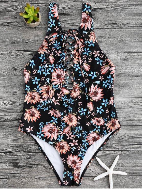 women Floral Print Lace Up One Piece Swimsuit - BLACK M