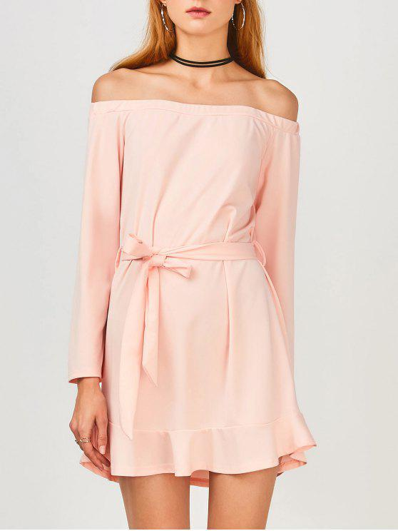 affordable Off Shoulder Ruffle Hem Long Sleeve Dress - LIGHT PINK L