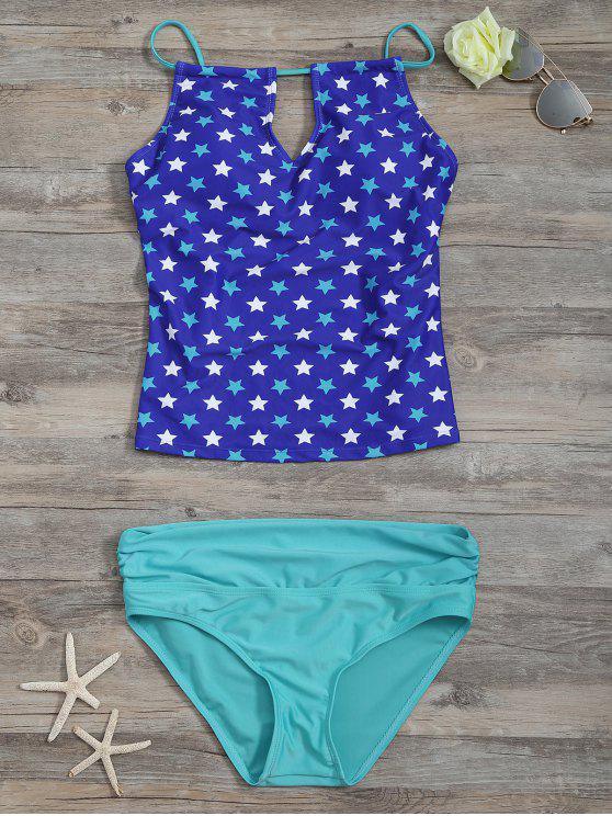 Ensemble de Tankini Taille Haute Imprimé à Pentagramme avec Forure - Bleu L