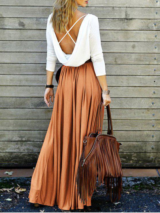 Maxi Vestido Fluido con Escote Pico Largo en Espalda con Tira Cruzada - Naranja S