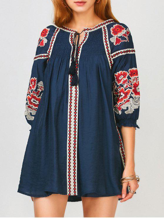 womens Oversized Floral Embroidered Smock Dress - PURPLISH BLUE XL