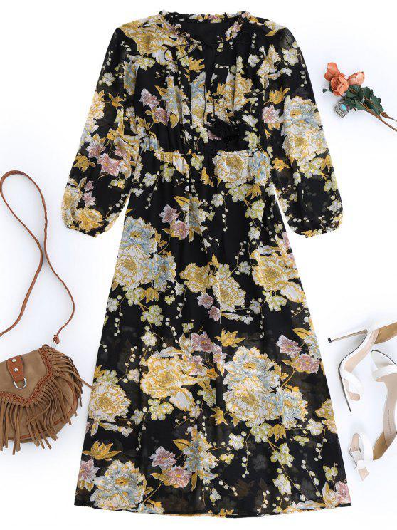 chic Fringed Floral Maxi Dress - BLACK L