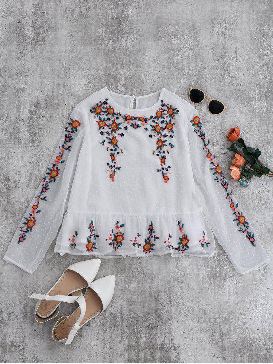 affordable Ruffles Floral Embroidered Blouse - WHITE S
