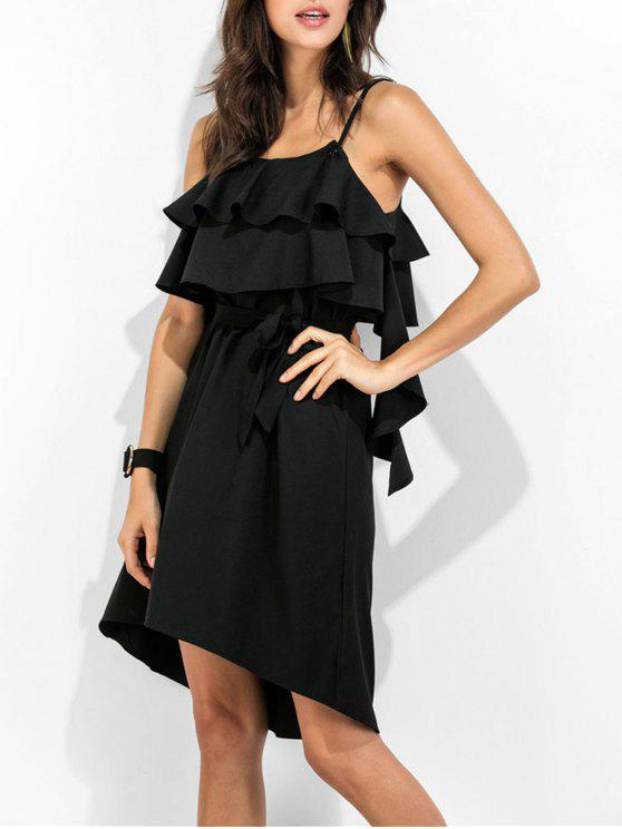 hot Spaghetti Straps Ruffle Dress - BLACK XL
