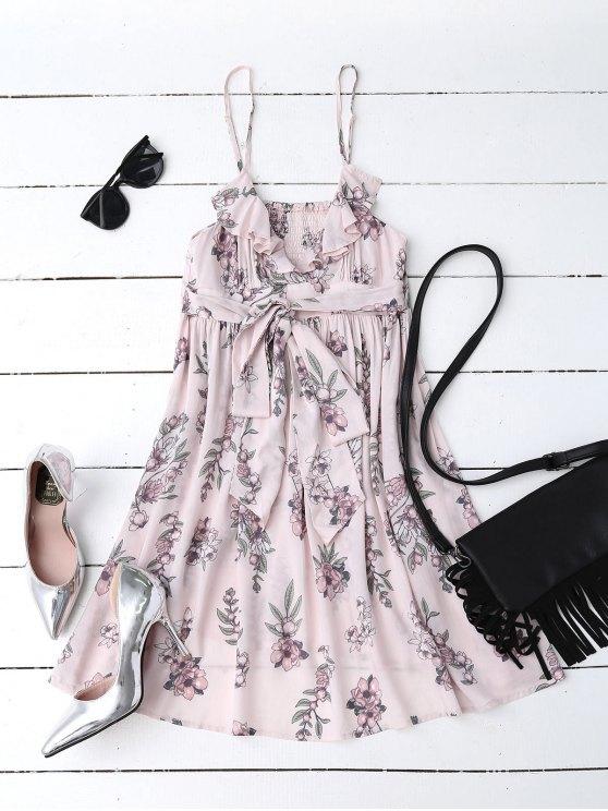 women Floral Print Flounced Beach Dress - PINK S