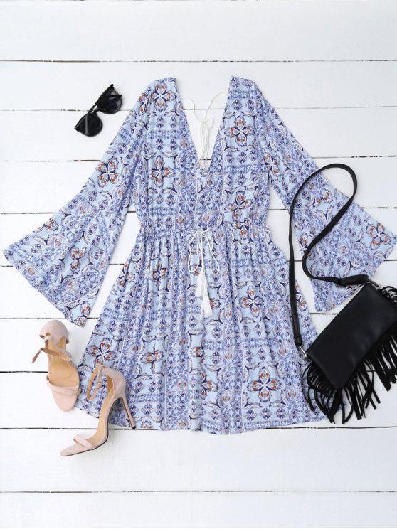 Imperio de la cintura estampado tribal una línea de vestidos - Azul L