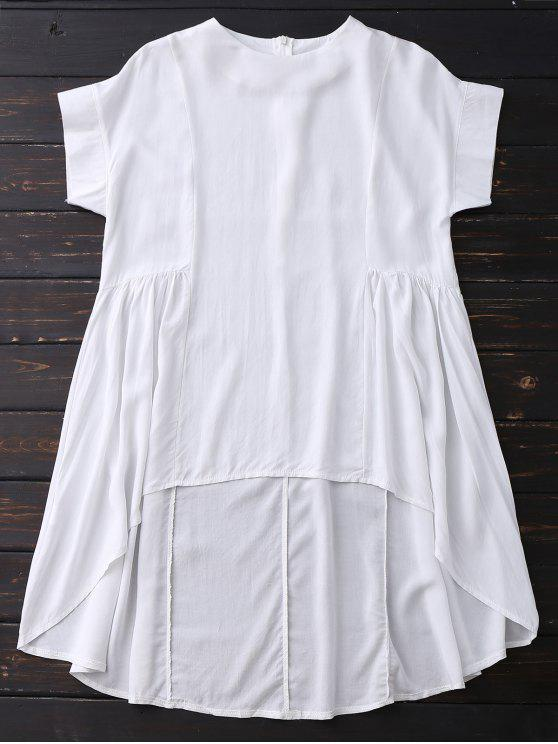 new High Low Skirted Flowy Top - WHITE L