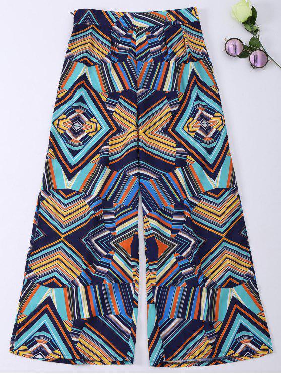 outfits Geometric Print Wide Leg Slit Bohemian Pants - COLORMIX S