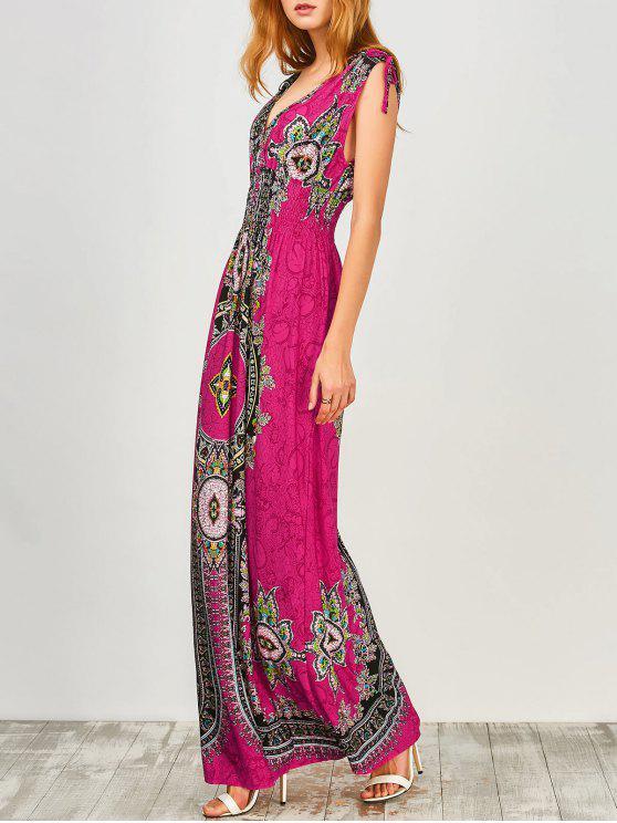 latest Maxi Print Plunge Bohemian Dress - SANGRIA M