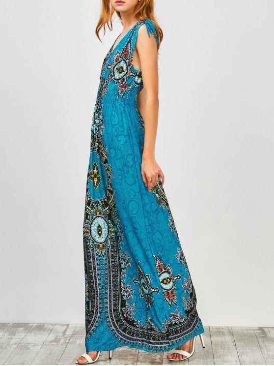 fancy Maxi Print Plunge Bohemian Dress - PEACOCK BLUE S