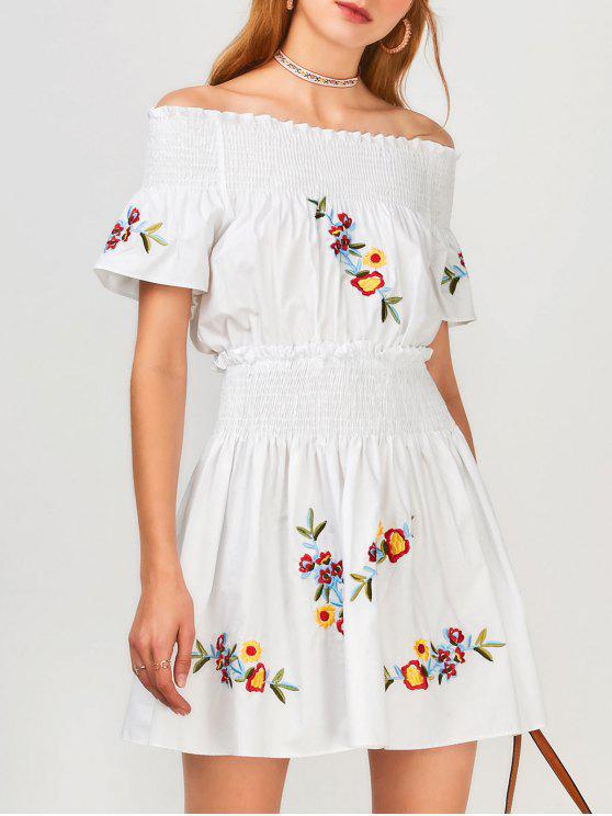 unique Floral Embroidered Smocked Off Shoulder Dress - WHITE L