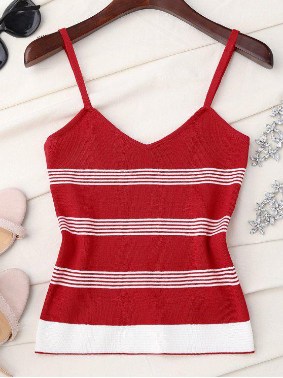 Camiseta de tirantes de punto a rayas - Rojo Única Talla