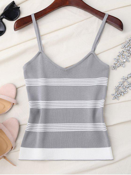 womens Striped Slip Knitted Tank Top - GRAY ONE SIZE