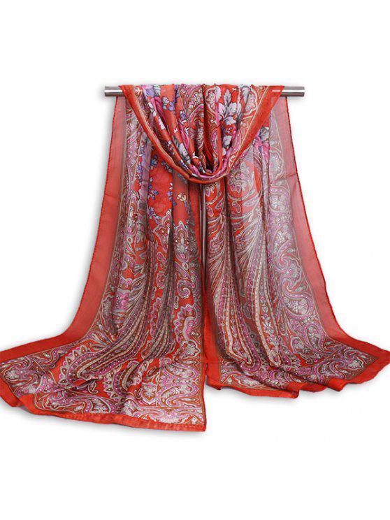 Paisley-Druck-Weinlese-Schal-Schal - leuchtend rot