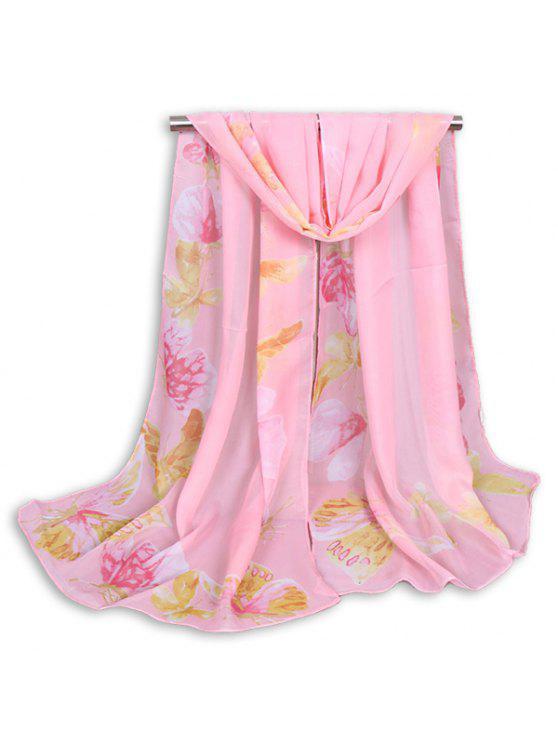 Pintado mariposa impreso bufanda mantón gasa - Papaya