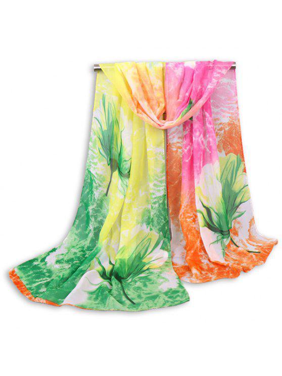 Multicolor Nubes Floral Printed Chiffon Bufanda - Verde