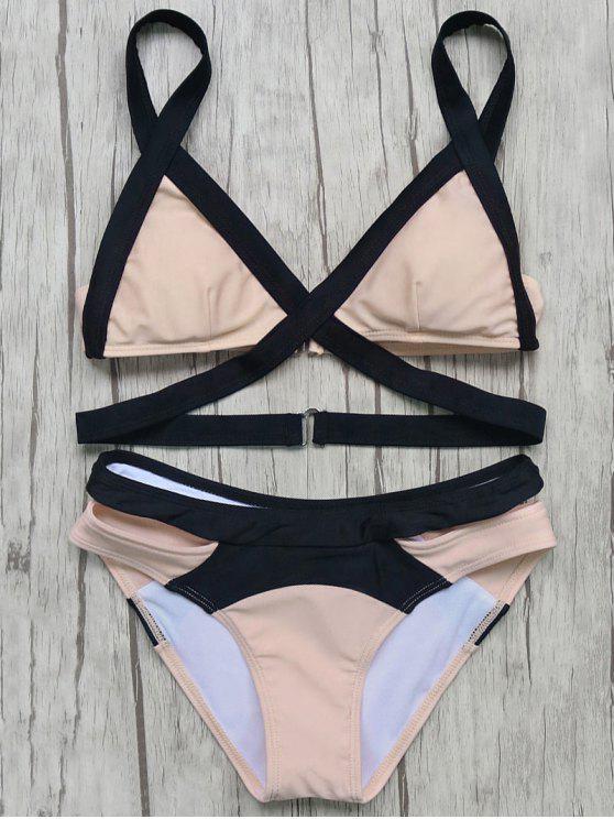 outfits Patchwork Bandage Bikini Set - PINK L