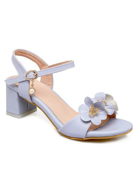 womens Block Heels Flowers Sandals - LIGHT BLUE 38