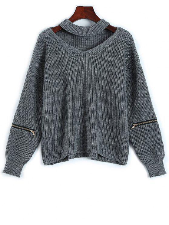 hot Cut Out Chunky Choker Sweater - GRAY ONE SIZE