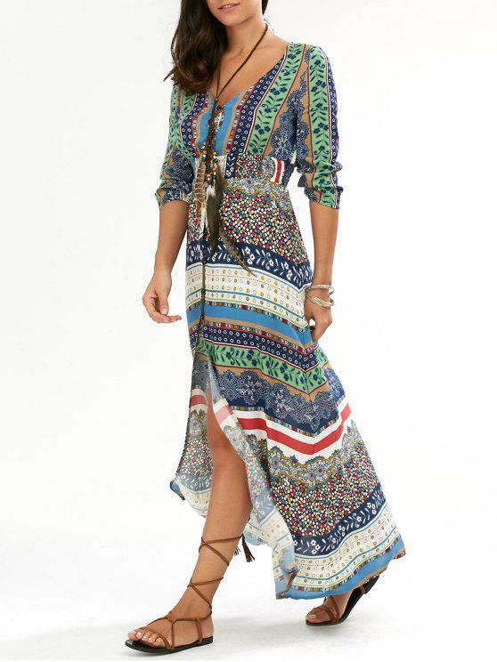 فستان شاطئ ماكسي طباعة - أخضر L