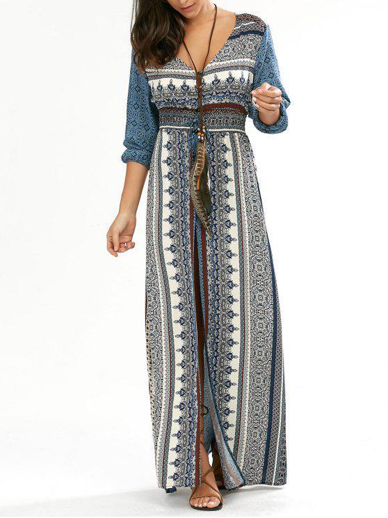 فستان طويل زر انقسام الرقبة V - أزرق S