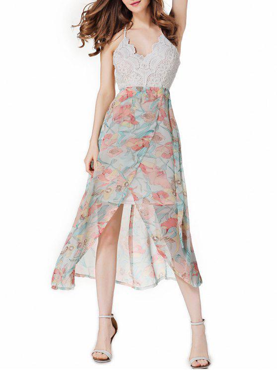 فستان الحفلة مفتوحة الظهر طباعة الأزهار - ردي الأزرق S