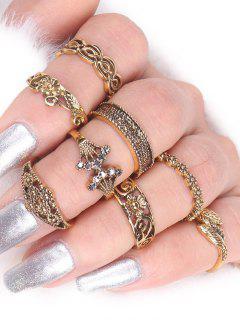 Flower Elephant Leaf Alloy Ring Set - Golden