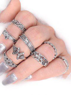 Flower Elephant Leaf Alloy Ring Set - Silver
