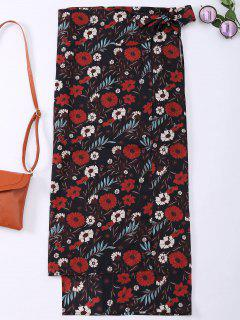 Floral High Slit Wrap Chiffon Beach Skirt