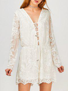 Long Sleeve Lace Up Plunge Lace Romper - White L