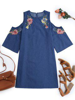 Embroidered Cold Shoulder Mini Dress - Denim Blue S