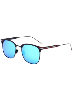 Anti UV Metal Stripe Leg Mirror Sunglasses - Black Frame + Blue