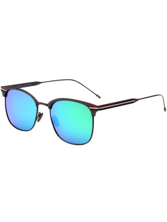 Anti UV Metal Stripe Leg Mirror Sunglasses - Blue Green