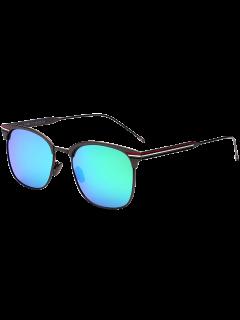 Gafas De Sol Anti UV Metal Stripe Leg Mirror - Azul Verde