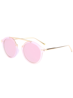 Mirrored Long Crossbar Reflective Round Sunglasses - Pink Frame+pink Lens