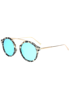 Mirrored Long Crossbar Reflective Round Sunglasses - Ice Blue