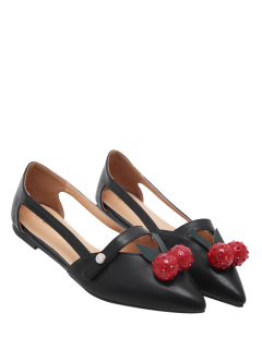 Hollow Out Cherry Faux Leather Flat Shoes - Black 38