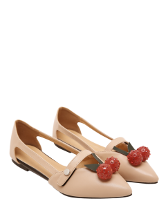 Hollow Out Cherry Faux Leather Flat Shoes - Apricot 38