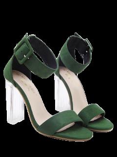 Flock Ankle Strap Crystal Heel Sandals - Green 39