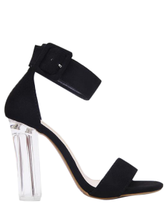 Flock Ankle Strap Crystal Heel Sandals - Black 38