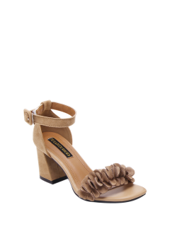 Block Heel Ankle Strap Flowers Sandals - Khaki 38