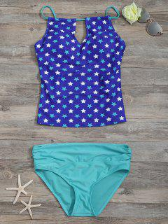 High Waisted Pentagram Print Keyhole Tankini Set - Blue S