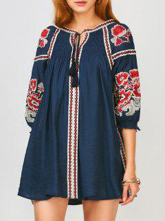 Oversized Floral Embroidered Smock Dress - Purplish Blue S