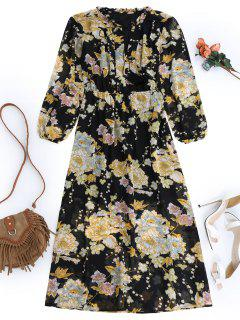 Fringed Floral Maxi Dress - Black L