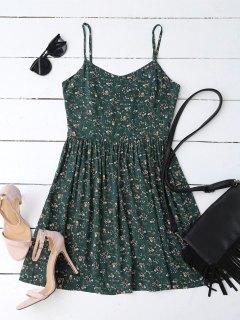 Cutout Tiny Floral Mini Dress - Blackish Green S