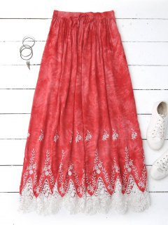 Lace Trim Embroidered Maxi Skirt - Red S